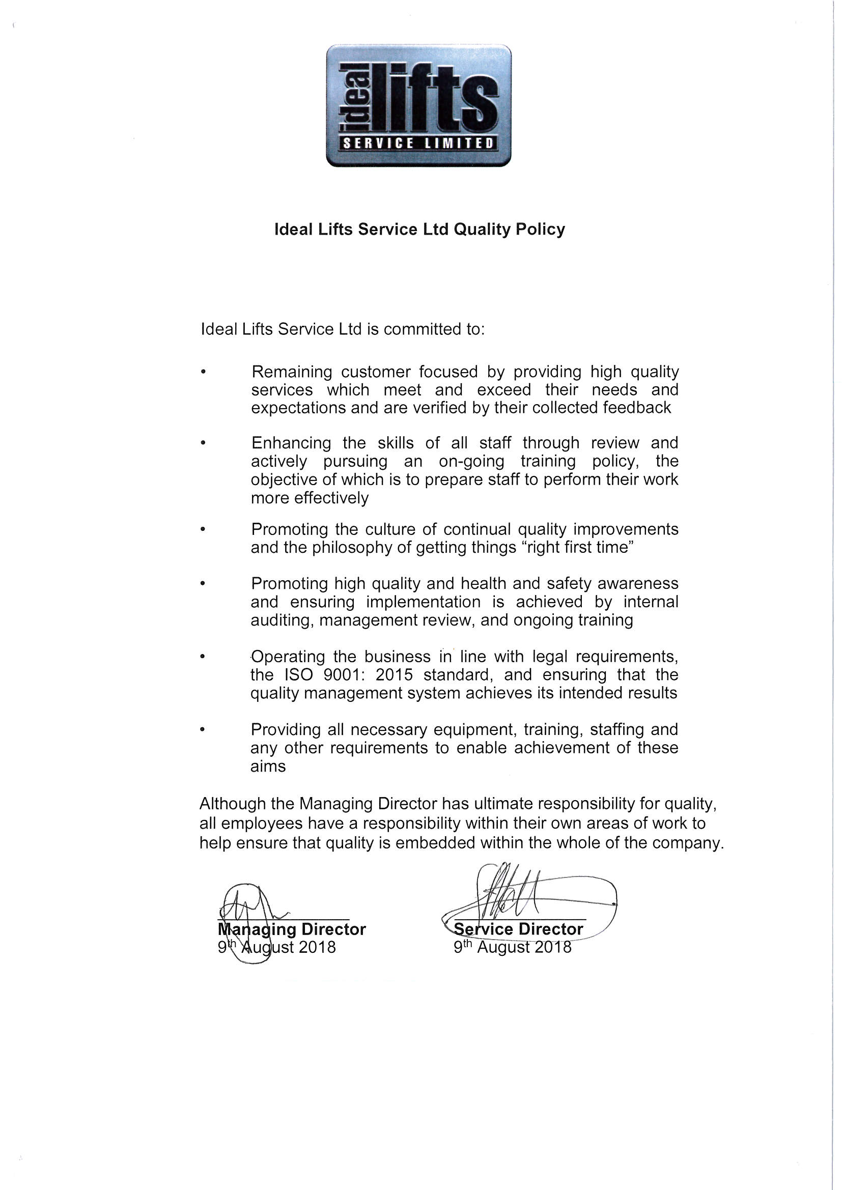 IDLS Quality Policy