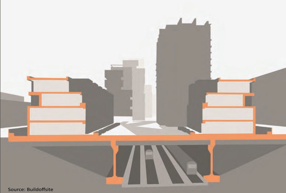 Linear infrastructure overbuild guide, Buildoffsite, upward development, airspace development, vertical extension, rooftop developments
